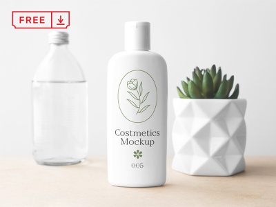 Cosmetics Bottle PSD Mockup bottle cosmetics design mockups logo identity psd template free download branding