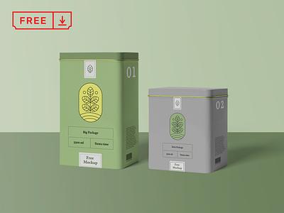 Metal Box Mockups design cookie tea coffee box metal free mockups template psd download branding identity
