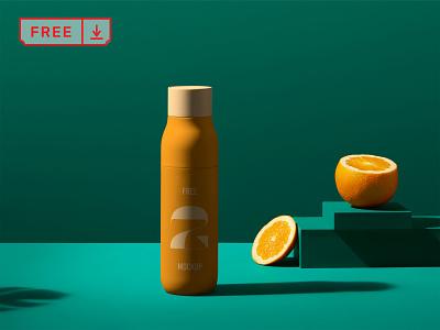 Juice Bottle PSD Mockup font design logo juice bottle free mockups branding identity template psd download