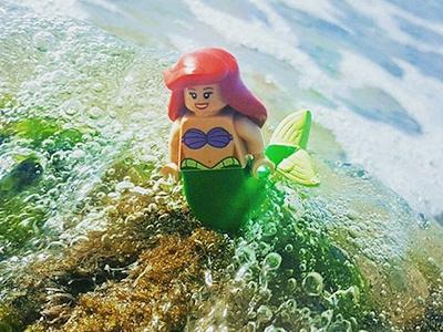 Under the sea toy photography no photoshop little mermaid minifigure photography instagram disney lego