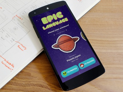 Epic Lang mockup interaction. transition material design mobile ux ui