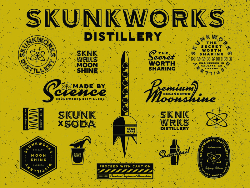 Skunkworks Distillery Brand Identity science skunkworks rocket moonshine distillery brand identity design badge design logo design typography design badge branding design logo branding illustration