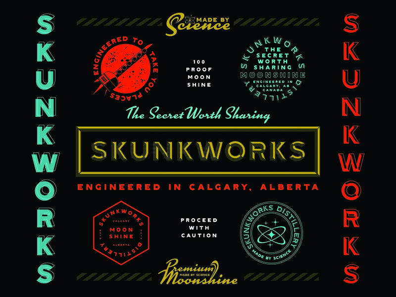 Skunkworks Distillery Brand Identity (Dark Version) skunkworks science distillery moonshine badge design brand identity design logo design design badge typography branding design logo branding illustration