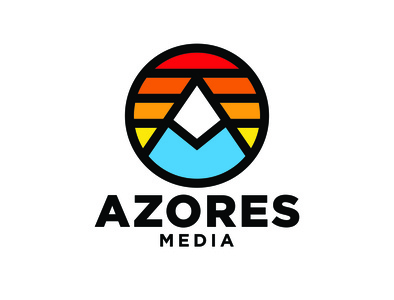 Azores Media Logo vector icon badge design logo design typography design logo branding design branding illustration