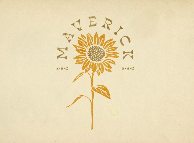 "Album Artwork for EHC's ""Maverick"" EP sun sunflowers sunflower musician band music album cover album artwork album art brand identity design typography logo branding design branding illustration"