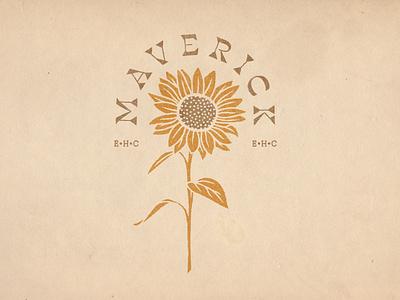"""Album Artwork for EHC's """"Maverick"""" EP sun sunflowers sunflower musician band music album cover album artwork album art brand identity design typography logo branding design branding illustration"""
