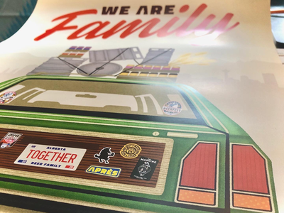 """""""We Are Family"""" Poster for Alberta Beer Festivals graphic design festival brewery craft beer beer family station wagon illustration design poster"""