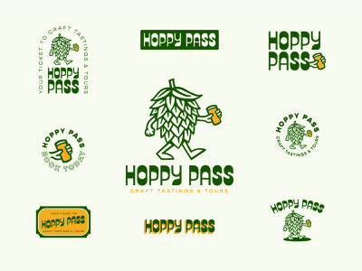 Hoppy Pass Brand Identity beer art character hoppy hop beer craftbeer craft beer brand identity design logo design typography logo design illustration branding design branding
