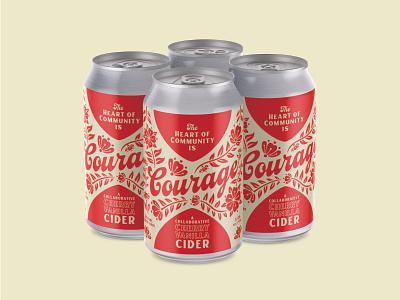 Courage Cider Label Design & Illustration can label design label packaging cider branding blossom flower courage cider labeldesign labels beer typography branding design branding illustration
