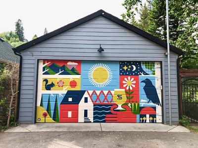Sunnyside Garage Mural (Calgary, AB) geometric mural art illustration murals mural