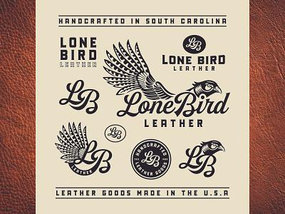 Lone Bird Leather Brand Identity (South Carolina, USA) bird illustration leather pheasant bird badge design brand identity design logo design badge typography design logo branding design branding illustration