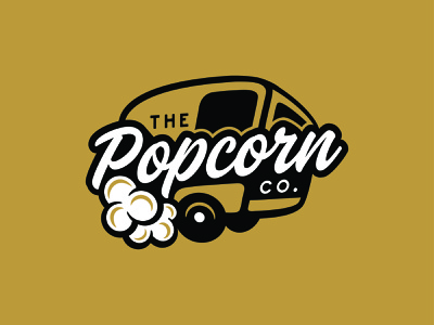 The Popcorn Co. Brand Identity (Red Deer, AB) trailer popcorn logo design brand identity design typography logo branding design branding illustration