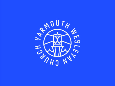 Brand Identity for Yarmouth Wesleyan (Nova Scotia, Canada) canada anchor east coast nautical church branding coastal maritime yarmouth lighthouse brand identity design badge design logo design typography badge design logo branding design branding illustration