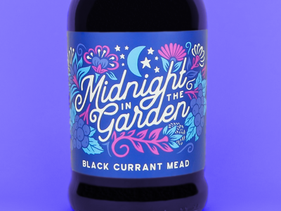Midnight in the Garden Illustration handdrawn flowers craft mead packaging label design branding design branding illustration