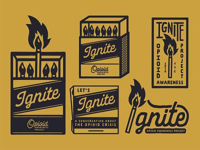 Ignite - Brand Lock Up badge design matches matchbox design typography logo illustration branding design branding badge