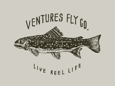 Ventures Fly Co. Brook Trout Design flat design fish fishing brook trout trout fly fishing flyfishing nature illustration handlettering hand drawn typography type illustration