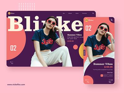Blinker - Stay Classy header ux minimal logo glasses ecommerce explore eyewear trending mobile app girl web design dark ui background vector dark app flat design ui landing page