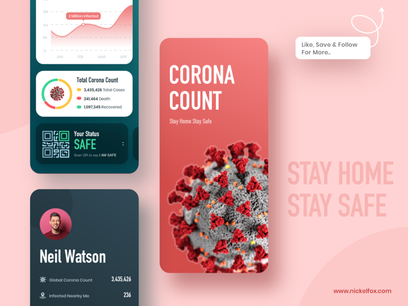 Corona Count - Safety Status App Concept app design nearby minimal ui ux 2020 trend branding illustraion health ecommerce stats web fitness healthcare dark app product design trending corona coronavirus covid19 app