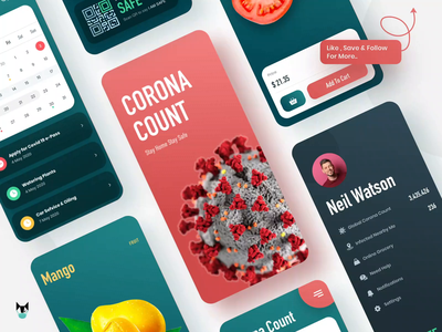 Corona Count cart nearby stats ecommerce coronavirus trending covid19 fitness product design dark app animation app business heath branding illustraion ui ux 2020 trend minimal app design