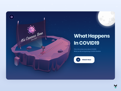 Corona Time - Since 2020 health 2020 coronavirus covid19 trending website movie app minimal 2d 2020 trend nature background illustration vector flat landing page web design dark ui ui dark app