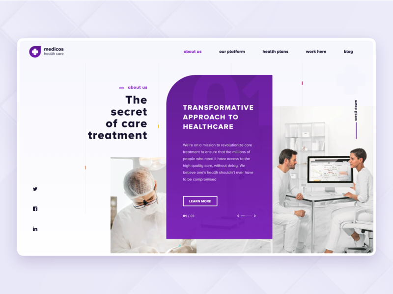 medicos - health care platform patient app care hospital nurse website design website responsive website medical healthcare health branding minimal ux background landing page flat design vector ui illustration
