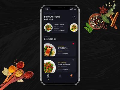 Home Chef iphonex dark app food food app landing design mobile app cooking app flat animation ui ux gif animation