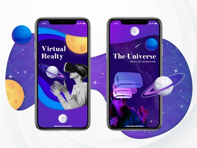 Virtual Reality - Experience of The Universe graphic digital technology vector character typography flat tutorials onboarding mobile app ux space universe galaxy app design virtual reality design dark app ui illustration
