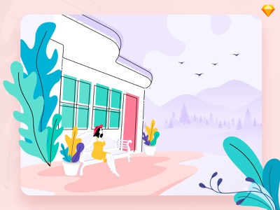 Near To Nature hills landscape trip mountain weather winter girl restaurant hotel plants nature art nature illustration hotel booking traveling travel background landing page vector illustration