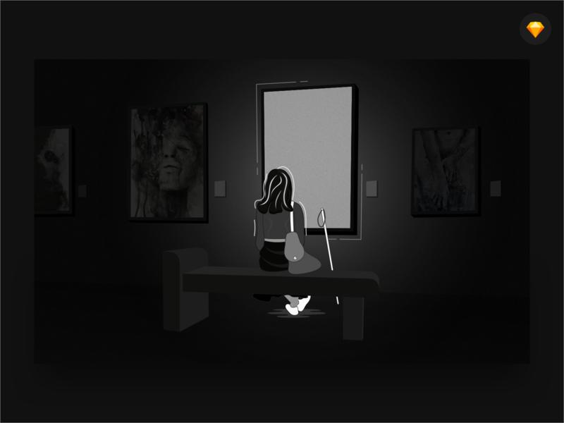 Blind Date With Art black painting flat concept happy lonely sketch art gallery girl blind girl blind girl web design vector mobile app design dark ui ui landing page illustration dark app