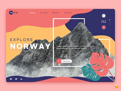 Explore Norway social traveling travel parallax website mountains logo explore website parallax trip ui flat background web design branding typography nature design landing page illustration