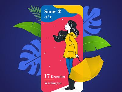 Snowy Winter ❄ new year onboarding girl app winter weather trending color palette sketch mobile ui dark ui background nature vector dark app flat design ui landing page illustration