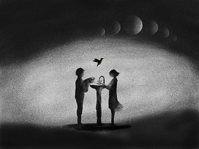 Try black and white illustrations