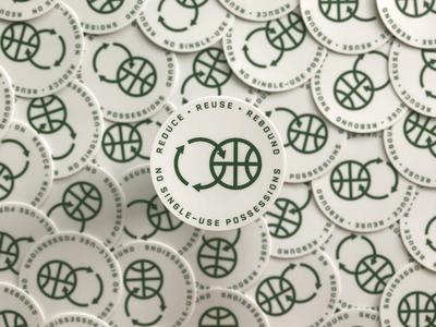 Reduce Reuse Rebound Sticker stickermule global warming rebound compost reuse reduce recycle eco friendly green sticker sports nba basketball
