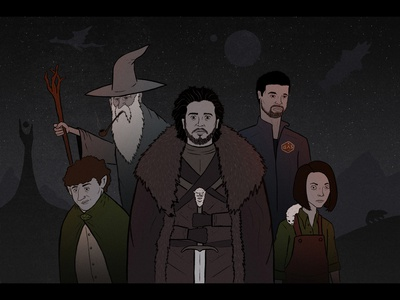What will be the next Game of Thrones? sword wizard editorial illustration the ringer dragon scifi hbo television fantasy space hobbit game of thrones his dark materials expanse lord of the rings