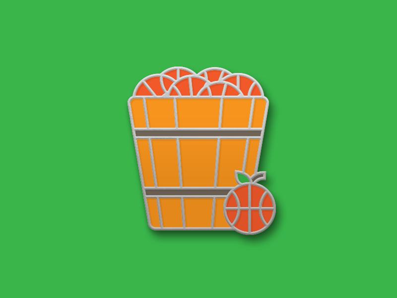 Peach Basket Enamel Pin illustration enamel pin basket ball fruit sports peach nba hoops basketball