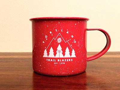 Trail Blazers Camping Mug 2 illustration mug camping northwest pnw outdoors trees mountains ripcity blazers trail blazers portland ball sports nba hoops basketball