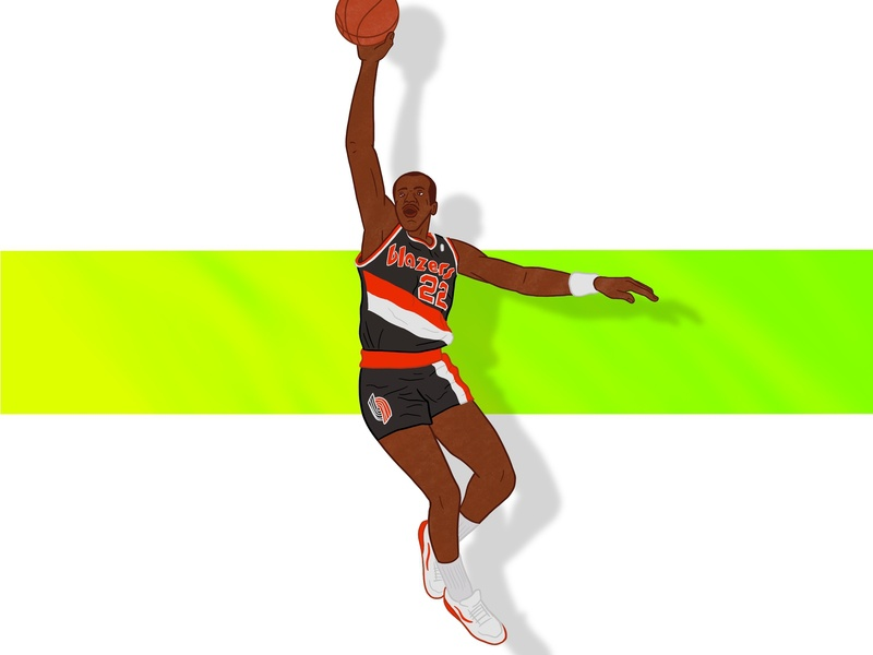 "Clyde ""the Glide"" Drexler 22 illustration procreate ipad 90s 80s dunk rip city trail blazers portland sports nba basketball"