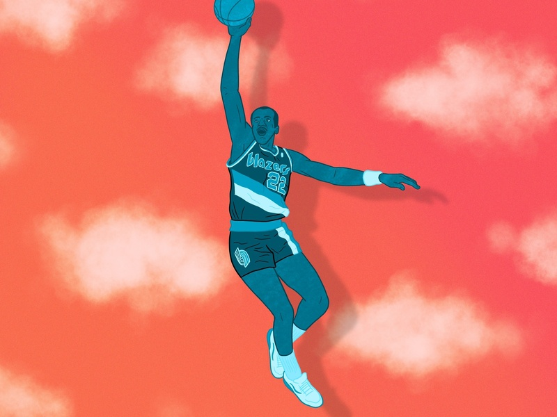 "Clyde ""the Glide"" Drexler v2 dunk clouds 22 90s 80s ipad procreate rip city illustration trail blazers portland sports nba basketball"