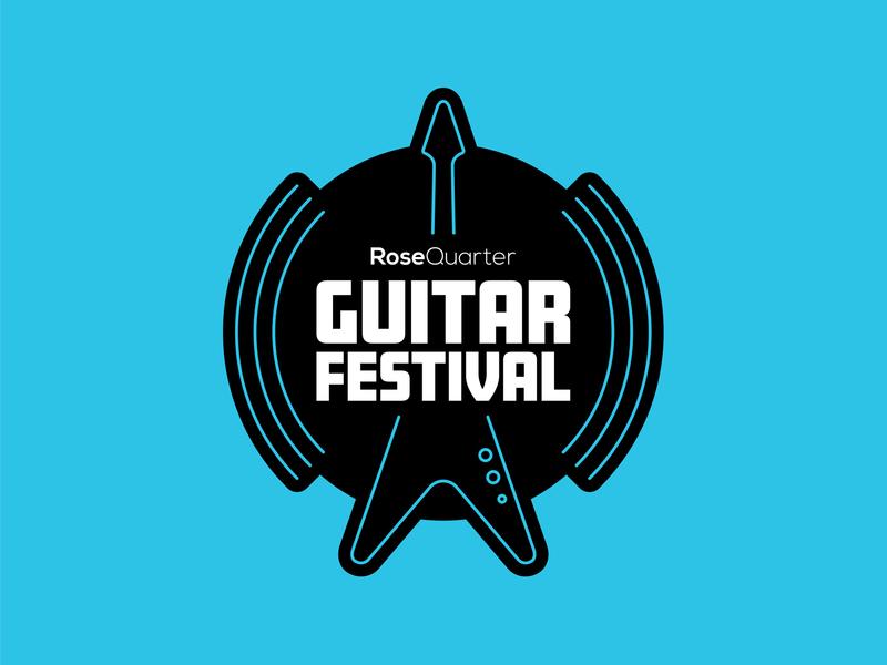 Guitar Festival amp music sound portland festival branding line vector metal rock flying v guitar logo