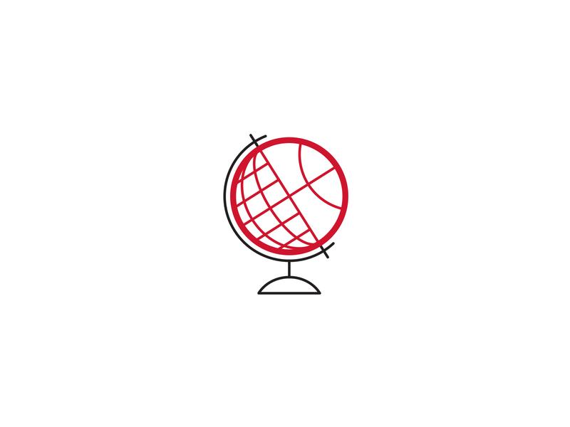 GloBall dribbble planet line global world globe vector icon design ball hoops nba sports basketball illustration