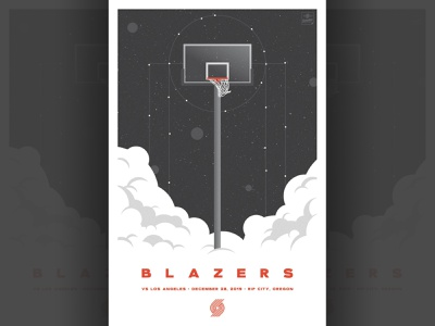 Trail Blazers vs Lakers Poster poster anniversary clouds space vector constellation stars lakers los angeles ripcity trail blazers portland ball hoops sports nba illustration basketball