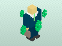 3D Pixel Businessman