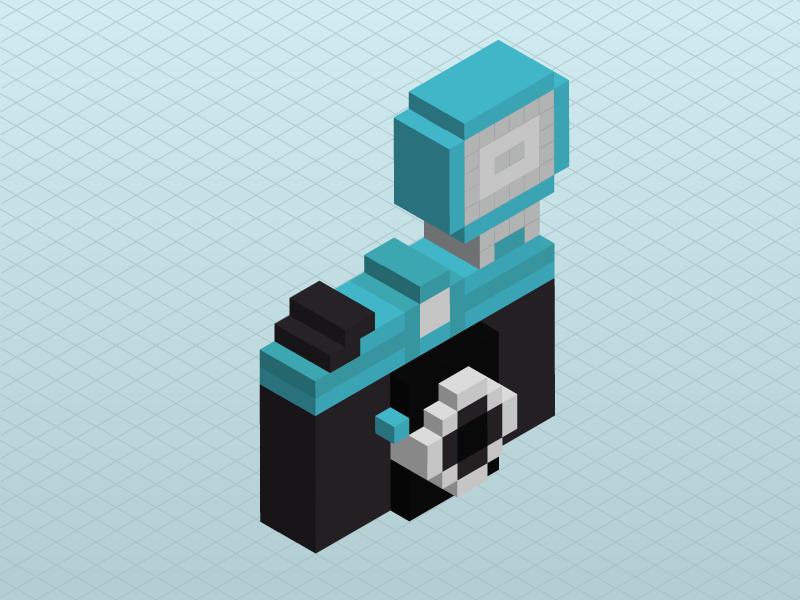 3D Pixel Camera 3d pixel illustration illustrator camera isometric lomography diana