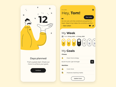 Daily Planning App goals fitness goal weekly dayli planning planner appdesign app design vector logo illustration app minimal flat design ios ux clean ui