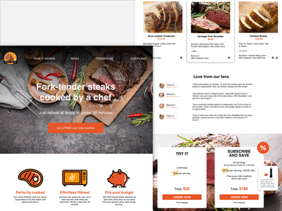 Food Delivery Service landing design landing page landing meat steak food webdesign web design dashboard bussiness bright ux ui simple ios clean app