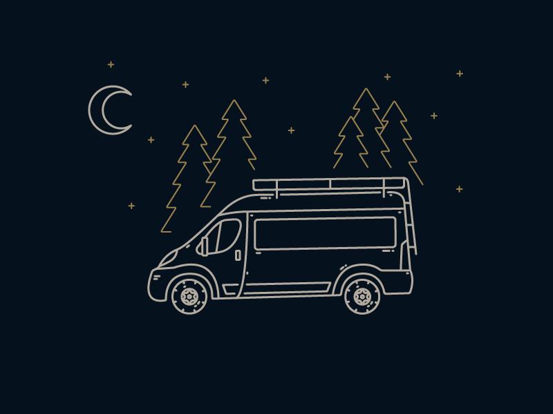I Dream of #VanLife illustration moon van life lines fresh air trees camping go outside adventure outdoors van vanlife