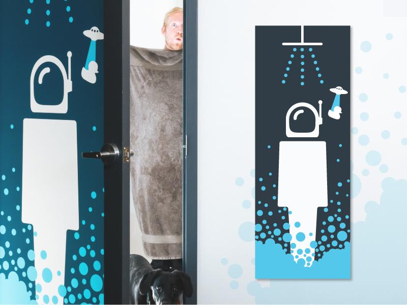 Do astronauts shower? rubber duck suds bubbles office door aliens are real astronaut shower
