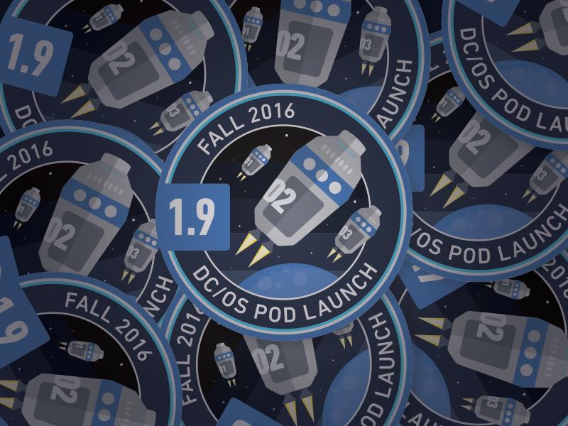 1.9 Release Sticker release pods space badge sticker