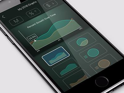 Clean Green Multi-Chart Graph UI  iphone 7 iphone ios mobile filters multi-chart green graph