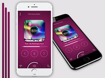 Rush Ergonomic Music App pink minimalist clean 7 iphone app music